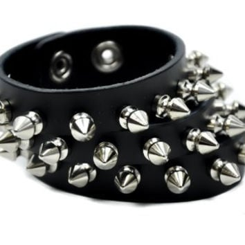 3 Row Spike Split Leather Wristband By Dysfunctional Doll Metal