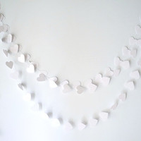 White hearts wedding garland, White paper garland, 9ft Bridal Shower Decorations, Wedding decor, Baby, Nursery, Soft Colors