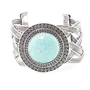 Turquoise Circle Cabochon Braided Bracelet Silver Tone BD54 Howlite Cuff Fashion Jewelry