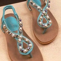 Fashion Beaded Rhinestone Thong Sandal