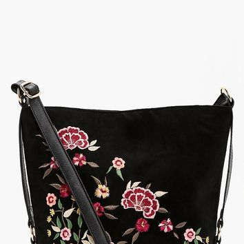 Rosie Embroidered & Stud Bucket Cross Body | Boohoo