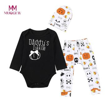 Cute Halloween Kids Clothes Baby Long Sleeve Letter Printed Lace + Cartoon Pumpkin Print Pants + Hat Three-Piece Set Outfit