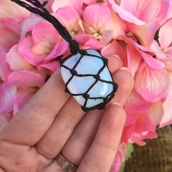 Hemp Necklace: Opalite Stone Wrapped with Hemp Cord, Hemp Jewelry, Crystal Jewelry, Macrame, Opalite