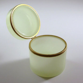 Pale Green Opaline Glass Casket / Dresser Vanity Trinket Box / Cigarette Holder