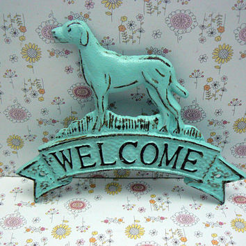 Dog Welcome Door Plaque Shabby Style Chic Beach Lt Blue Labrador Retriever Canine Vet Groomer Office Cabin Greeting Sign Pet Lover Gift Idea