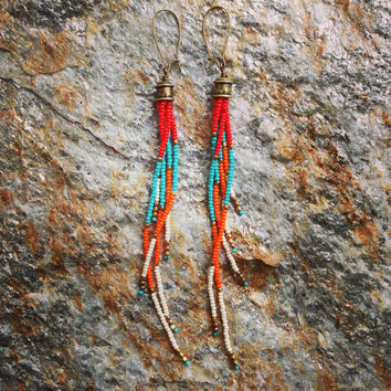 Bohemian Fringe Earrings, Seed Bead Earrings, Long Fringe Earrings, Beaded Earrings