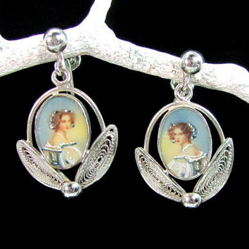 Vintage CARL-ART Sterling PORTRAIT Earrings Screwback Hand Painted Accent Dangle