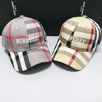 Burberry Sunscreen Fashion New Plaid Embroidery Letter Couple Hat Cap