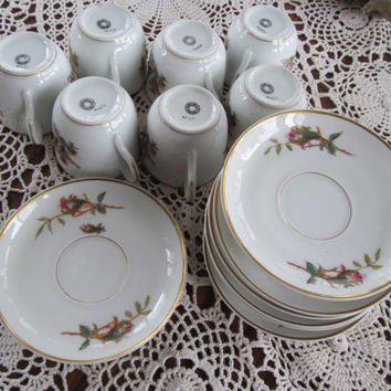 Service for 8 Haviland LimogesTea Set Antique Moss Rose Scottish Thistle limoges china Victorian Tea cups and saucers Edwardian Tea Set