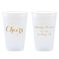 Cheers Cups Set of 50 - 14 oz Frosted Shatterproof Plastic Cup - Gold, Silver, Navy or Black Party Favors - Can be Personalized Custom Gift