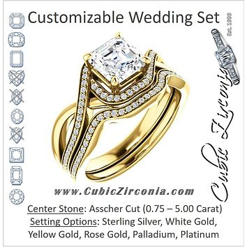 CZ Wedding Set, featuring The Ananya engagement ring (Customizable Bypass-Halo-Accented Asscher Cut Center with Twising Split-Pavé Band)