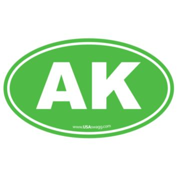 Alaska AK Euro Oval Sticker LIME GREEN