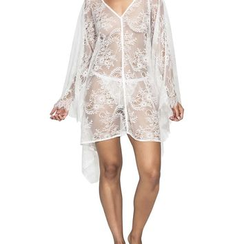 """Ibiza"" White Lace Kaftan Cover Up"