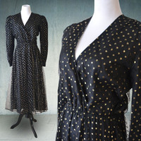 1980s Halston Designer Party Dress Black with Gold Metallic Dots 40s Style Larger Size