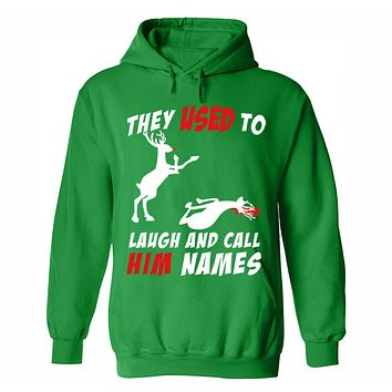 XtraFly Apparel Men's Reindeer Laugh And Call Him Names Ugly Christmas Hooded-Sweatshirt Pullover Hoodie