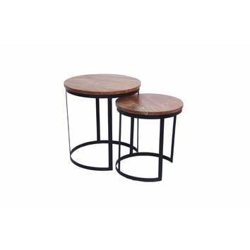 Industrial Style Set Of 2 Round Nesting Tables, Brown And Black By The Urban Port