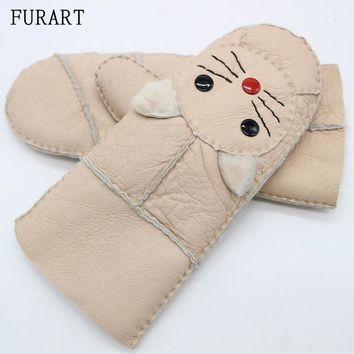 New 2017 Winter Female Warm Sheepskin Genuine Leather Fur Gloves Driving Thickening Mittens Wool Lining Cute Cat Glove ST-14