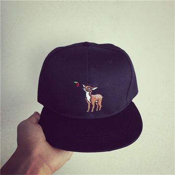 Black Deer Embroidered Baseball Cap Hat