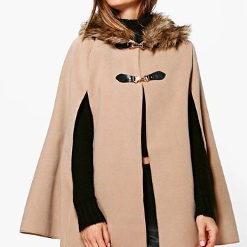 Olivia Faux Fur Collar Wool Look Cape | Boohoo