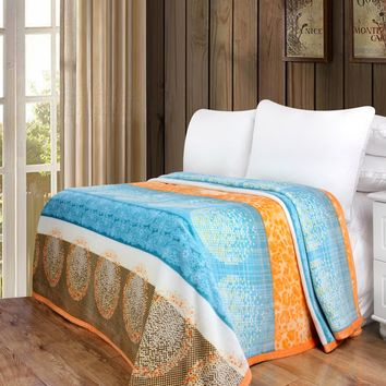 DaDa Bedding Papaya Beach Orange & Blue Reversible Soft Warm Cozy Plush Luxe Fleece Flannel Throw Blanket (XY9841)