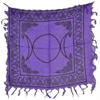 "18"" X 18"" Triple Moon Pentagram Altar Cloth by Azure Green 