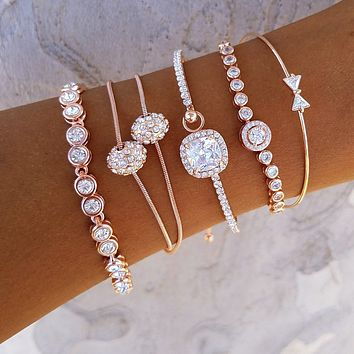 Bow Crystal Bracelet Stack