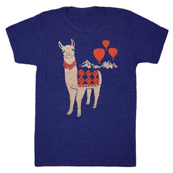 Llama - Unisex Mens T-Shirt Mountains Nature Track Tee Shirt Folk Cute Peru Folkloric Alpaca Animal Red Hot Air Balloon Blue Indigo Tshirt