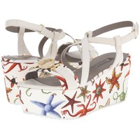 New Versace Sea Stars Print White Leather Textile Wedge Sandals It.39 - US 9