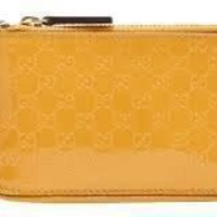 Gucci Keychain Wallet 'Shiny' Yellow Patent Leather Card Holder 233183