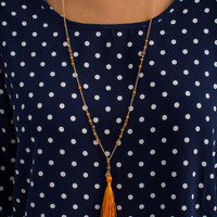 Small Beaded and Tassel Necklace in Orange