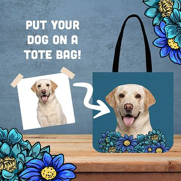 Custom Dog Portrait Linen Tote Bag