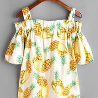 Pineapple Print Cold Shoulder Top -SheIn(Sheinside)