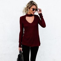 Women Solid Color V-Neck Hollow Stretch Tight Long Sleeve T-shirt Tops