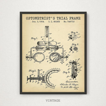 Optometrist's Trial Frame Patent Print, Digital Download, Eye Clinic Decor, Optical Shop Poster Optician Optometry Wall Art Eye Doctor Gift