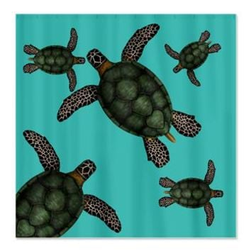 Lot of green turtles Shower Curtain> Wild Animal Print Shower Curtains> Shower Curtains
