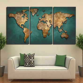 Canvas Art World Map Canvas Painting Vintage Continent Wall Picture