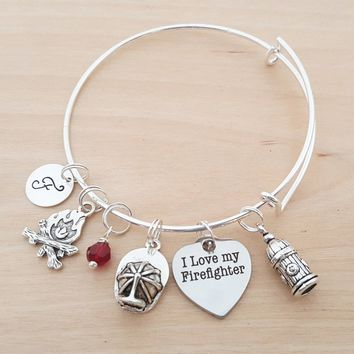 Firefighter Wife Bracelet - I Love My Firefighter - Personalized Bracelet - Adjustable Bangle - Birthstone Bracelet - Personalized Jewelry