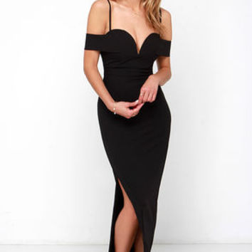 Madison Square Eternity Black Off-the-Shoulder Maxi Dress
