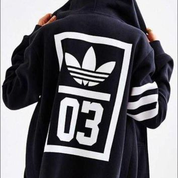 DCCKBA7 adidas Originals Navy Trefoil Zip-Up Hooded Sweatshirt