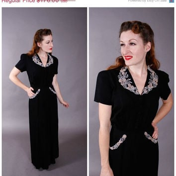 CHRISTMAS SALE - Vintage 1940s Dress - I. Magnin Beaded Rayon Evening Gown - Paramount