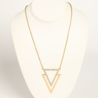 DOUBLE TRIANGLE RHINESTONE NECKLACE