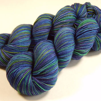 Hand Dyed Yarn - Sock Weight Superwash Merino Wool Yarn - Ink Multi - Knitting Yarn, Sock Yarn, Wool Yarn, Blue Green Purple