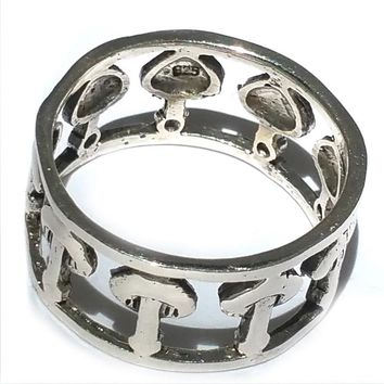 Sterling Silver Double Wide Cutout Mushrooms Band Ring
