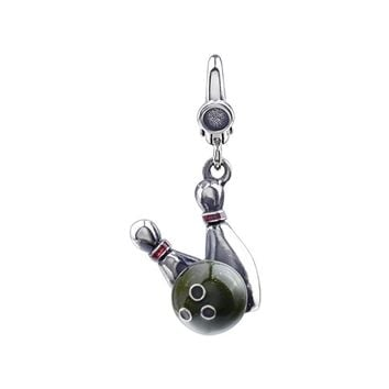 Sterling Silver and Enameled 3D Bowling Ball and Pins Clip-On Charm