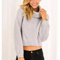 Turtleneck Cutout Knitted Sweater