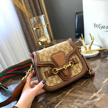 GUCCI GG Canvas and Leather Small Crossbody Shoulder Bag