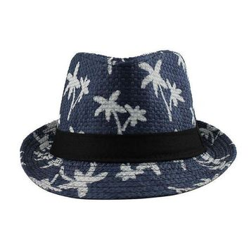 new Sun shade hat couple beach sun hat coconut pattern men and women sunscreen jazz hats spring summer