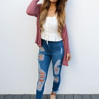 Give Me Space Cardigan: Dusty Rose