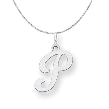 Sterling Silver, Sophia Collection, Small Script Initial P Necklace