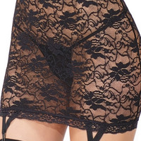 Black Lace High Waisted Garter Skirt
